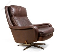 Antiques Atlas - Danish Leather Reclining Swivel Man Cave ...