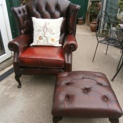 Oxblood Leather Wing Chair Back Chairs Antiques Atlas Wingback And Matching Stool