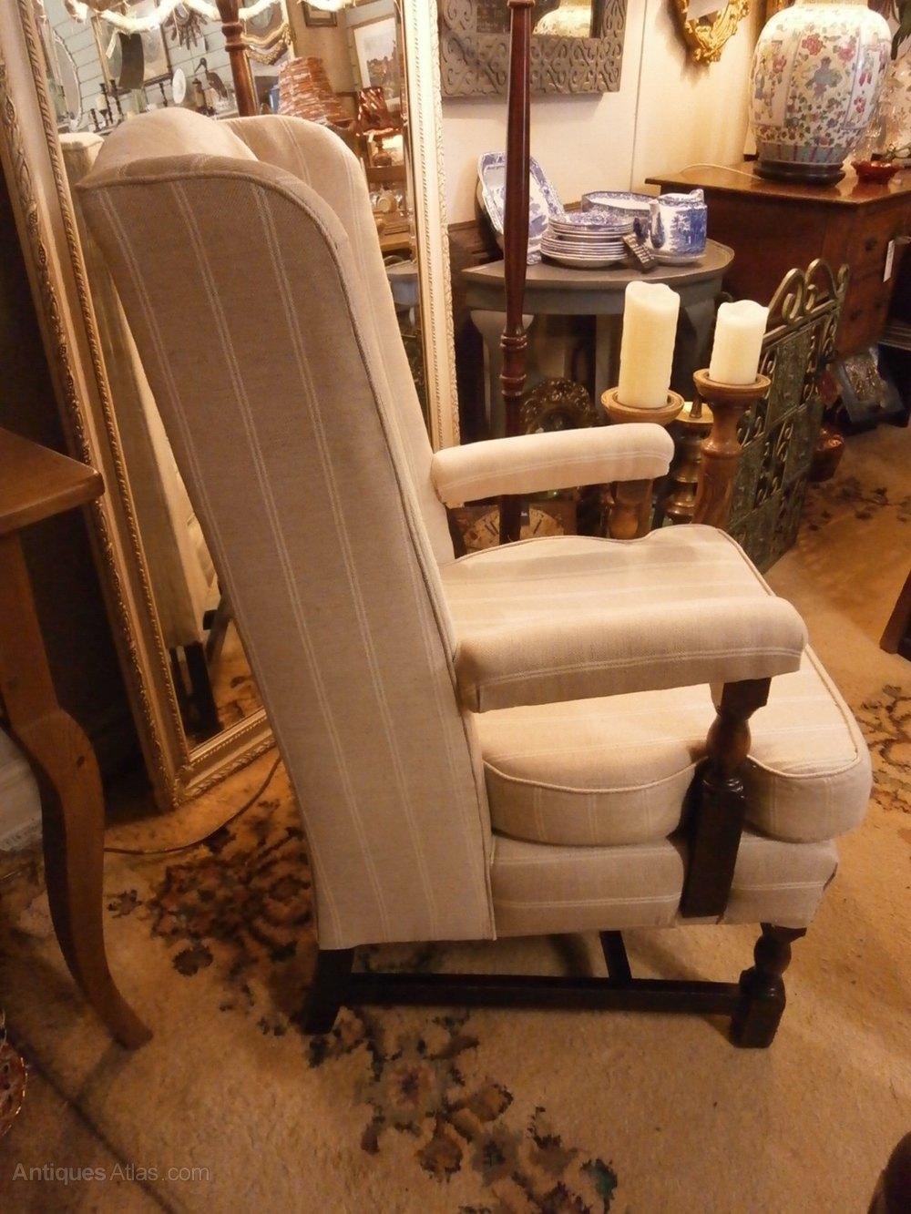 Refurbished Chairs Refurbished 1920s Oak Framed Wing Back Chair Antiques Atlas