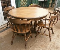 Antiques Atlas - Vintage Oak Round Table & 4 Captains Chairs.
