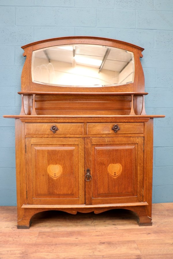 Antique Oak Sideboard with Mirror
