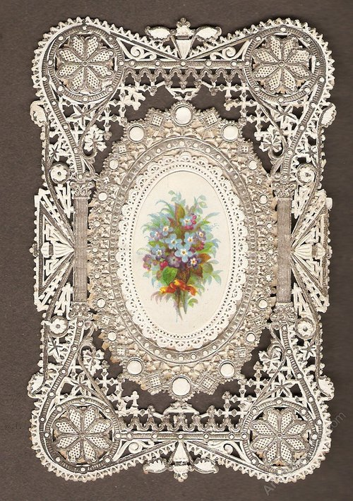 Antiques Atlas Victorian Paper Lace Birthday Card Circa