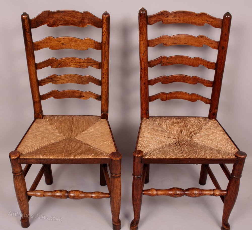 A Good Set Of 12 Antique Ladder Back Country Chair