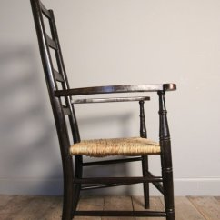 Antique Ladder Back Chairs Uk Folding Chair Weight Limit Arts & Crafts Ladderback Armchair - Antiques Atlas