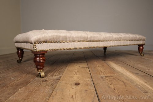 Mahogany Upholstered Centre Stool / Coffee Table