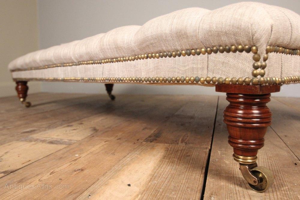 Mahogany Upholstered Centre Stool / Coffee Table