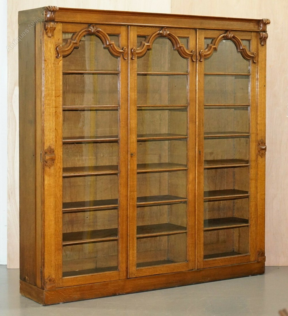 Large Golden Mahogany Bookcase With Glass Doors
