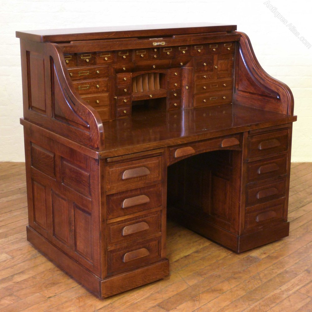 Edwardian Oak Roll Top Desk  Antiques Atlas