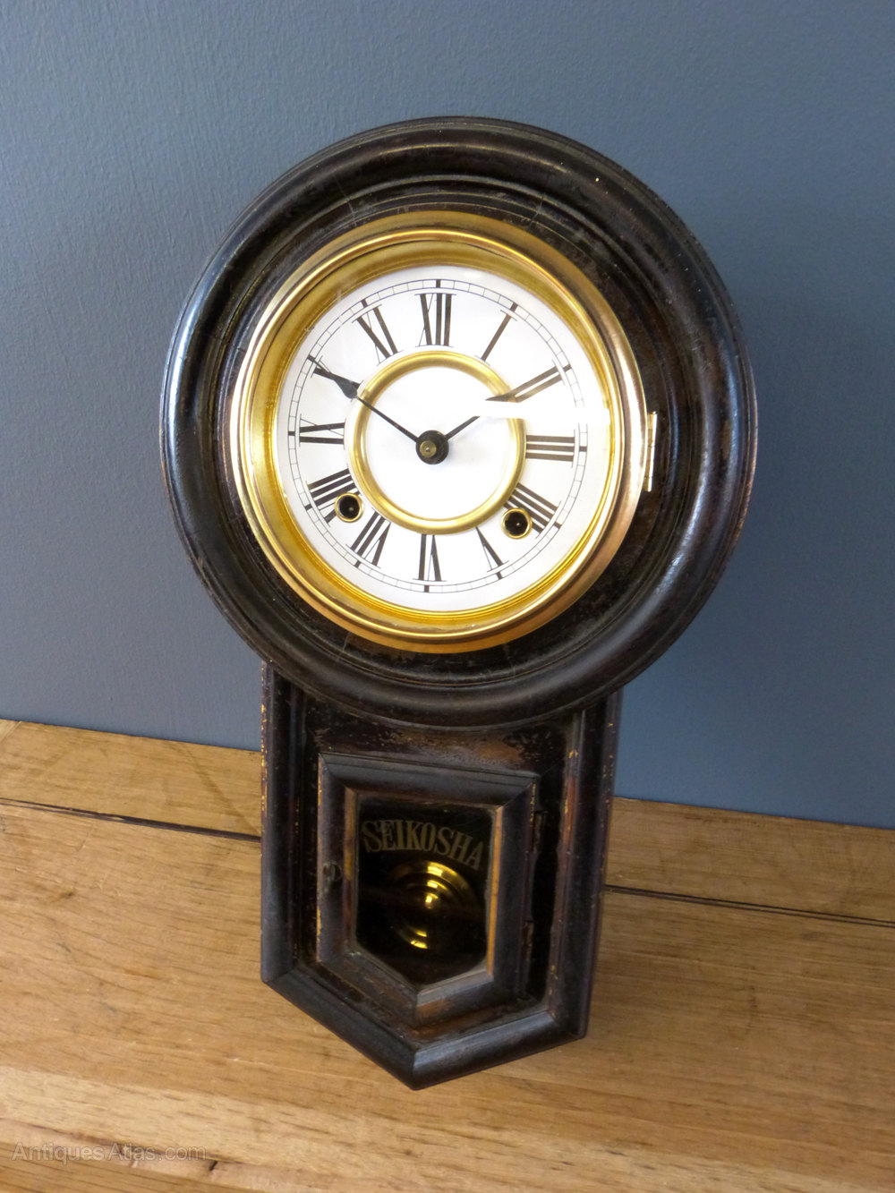 Wooden Wall Clock Antiques Atlas - Victorian Japanese Wall Clock