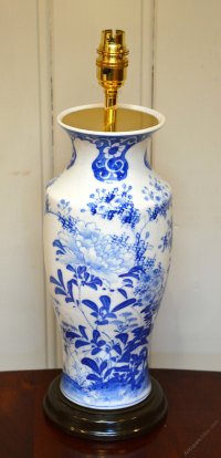 Antiques Atlas - Blue And White Vase Converted Into A ...