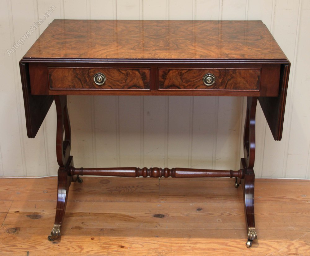 Burr Walnut Drop Leaf Sofa Table