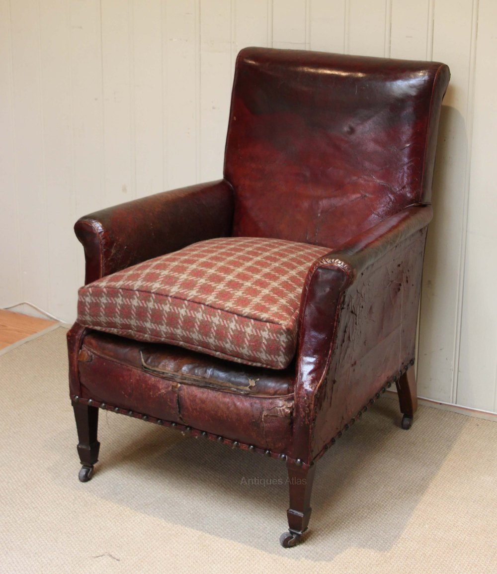 Edwardian Leather Library Chair