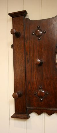 Edwardian Solid Oak Coat Rack With A Central Mirro ...