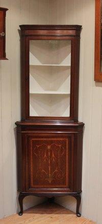 Inlaid Mahogany Corner Display Cabinet - Antiques Atlas