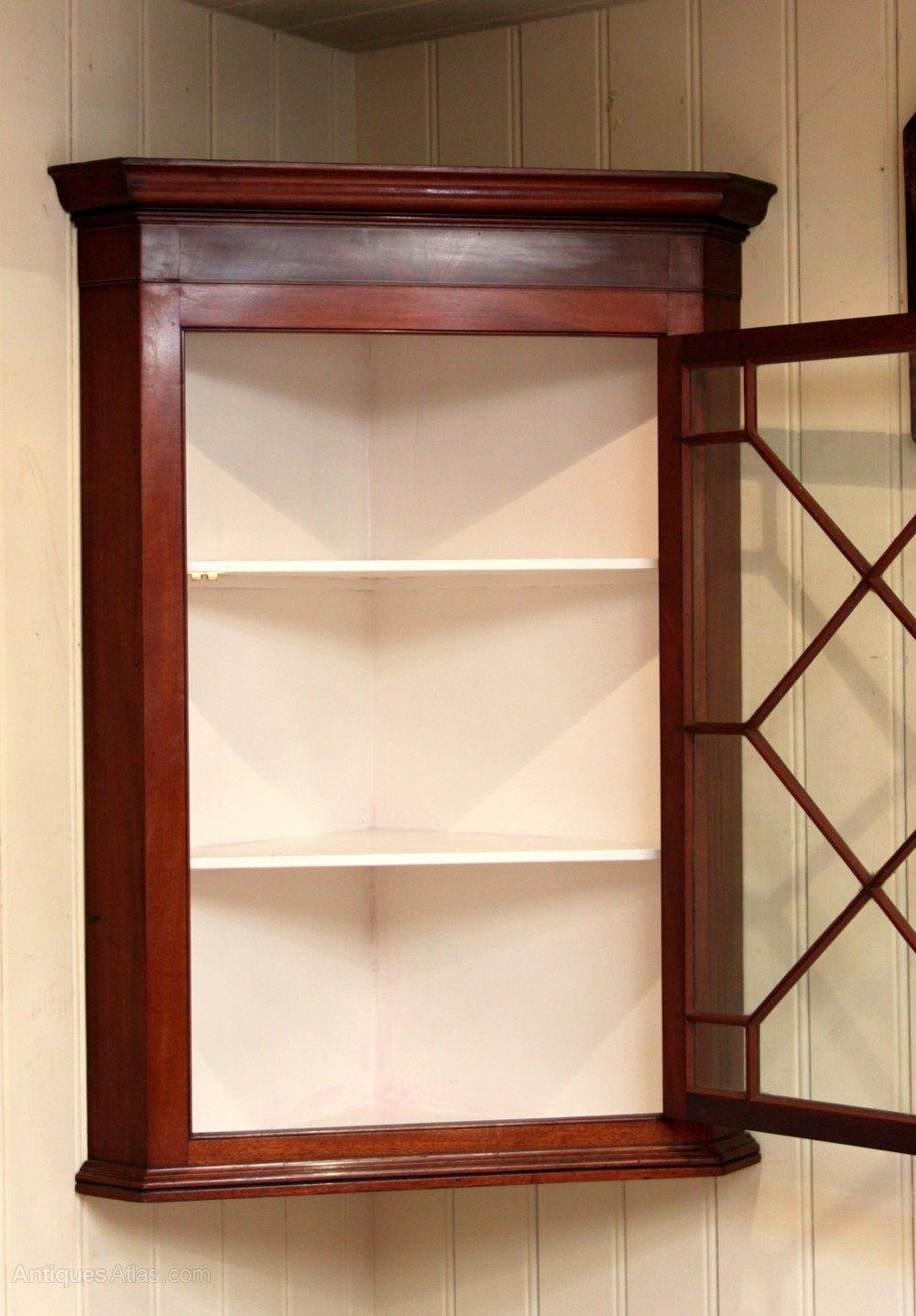 Mid 19th Century Mahogany Corner Wall Cabinet