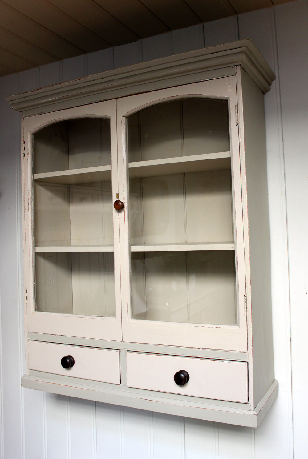 Painted Pine Two Door Wall Cabinet With Base Drawe