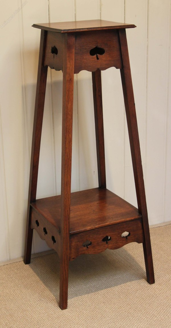 Solid Oak Arts And Crafts Plant Stand - Antiques Atlas