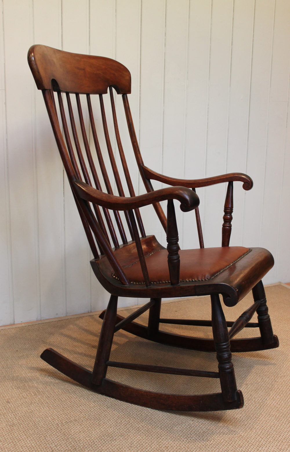 antique rocking chair leather seat wedding covers bournemouth victorian fruitwood - antiques atlas