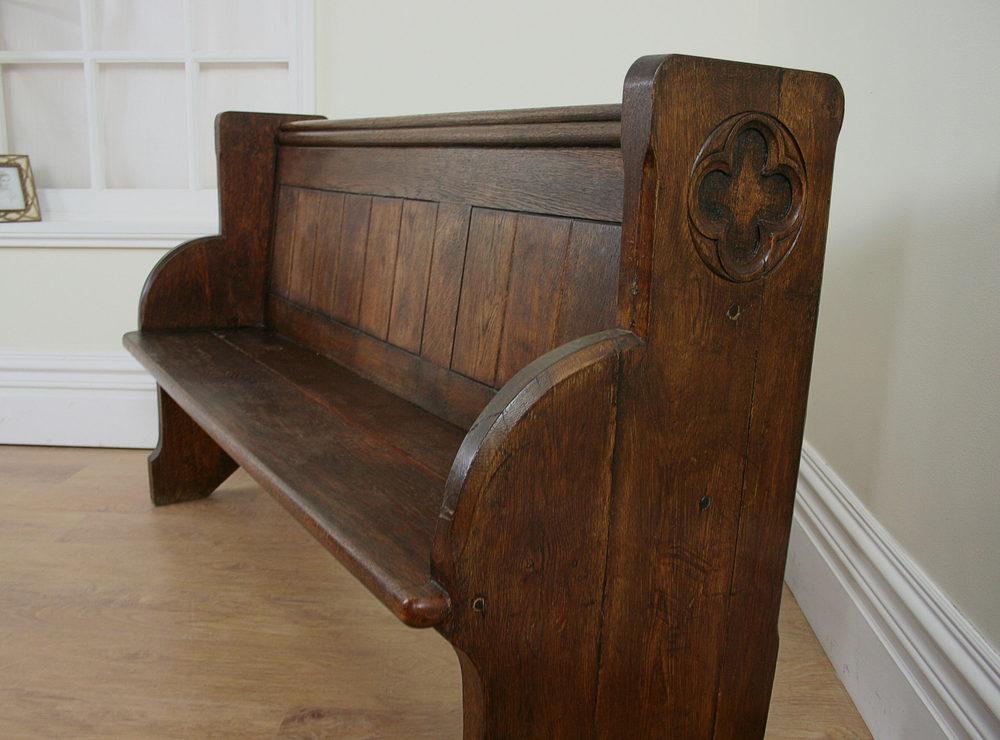 5ft 4 Victorian Welsh Oak Church Pew C 1840 Antiques