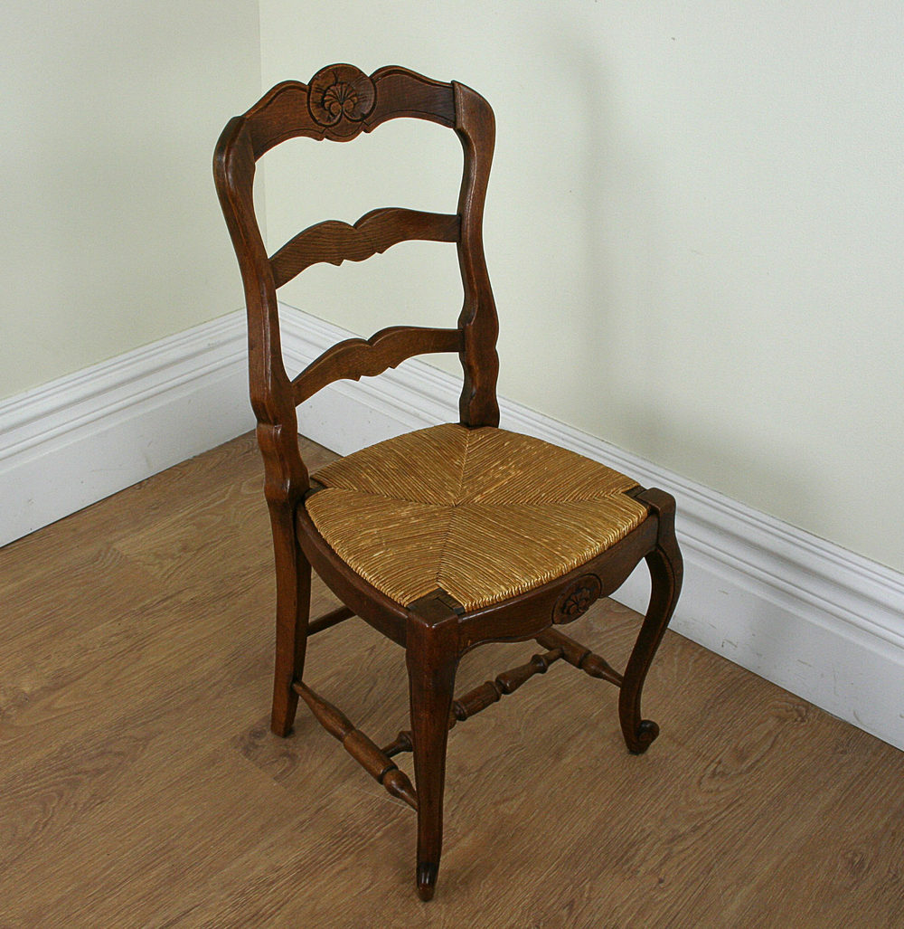 antique ladder back chairs with rush seats steel chair making machine 8 french oak dining (c.1910) - antiques atlas