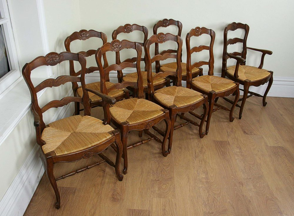 ladderback dining chairs brown leather chair 8 french oak ladder back c 1910 antiques atlas