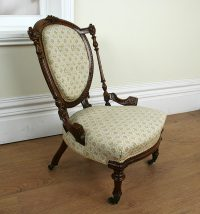Antique Walnut Victorian Nursing Chair (c. 1840 ...