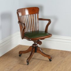 Revolving Office Armchair Antique Dining Room Chairs Edwardian Oak & Green Leather Desk Chair - Antiques Atlas
