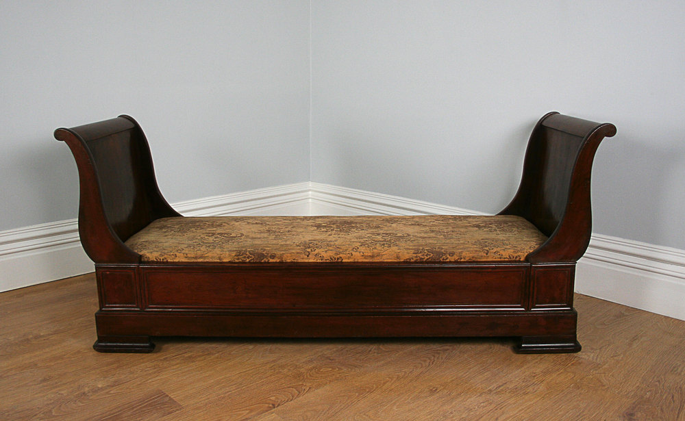 French Empire Mahogany Lit Bateau Bed c1840  Antiques