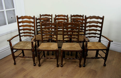oak farmhouse chairs reupholster swivel office chair antiques atlas set of 10 ladder back