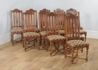 Twelve Louis Style Oak & Upholstered Dining Chairs ...