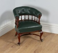 Victorian Mahogany Office Green Leather Armchair