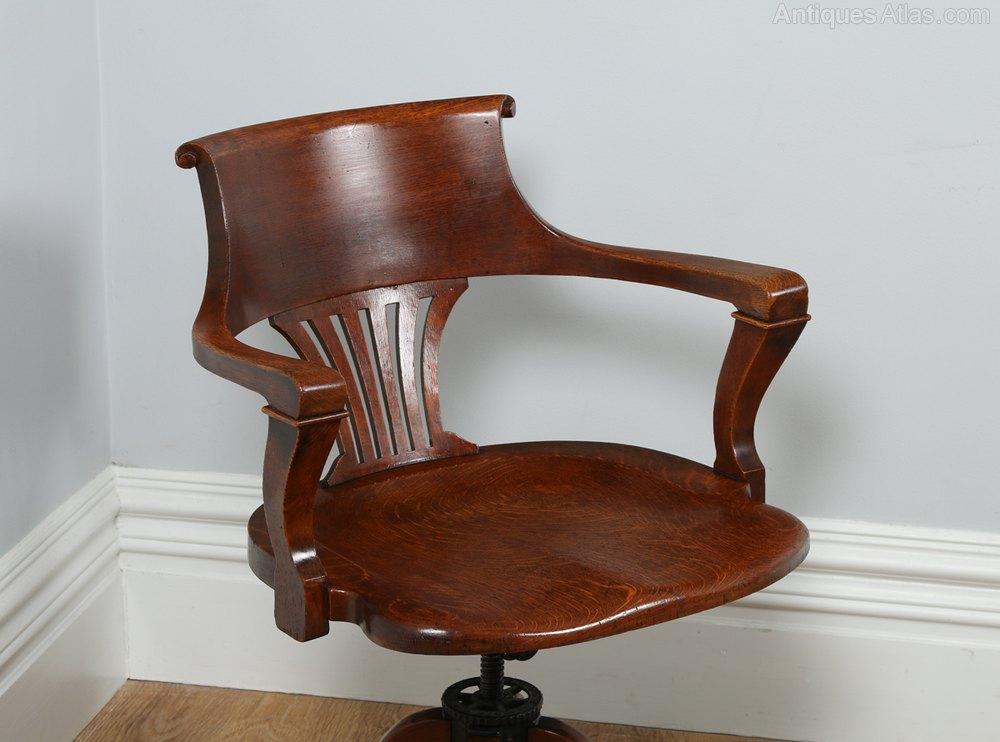 revolving chair mechanism charcoal grey covers victorian oak office desk c.1890 - antiques atlas