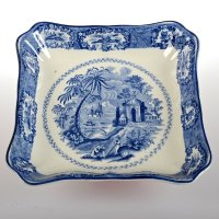 Antiques Atlas - Antique Blue And White Square Plate