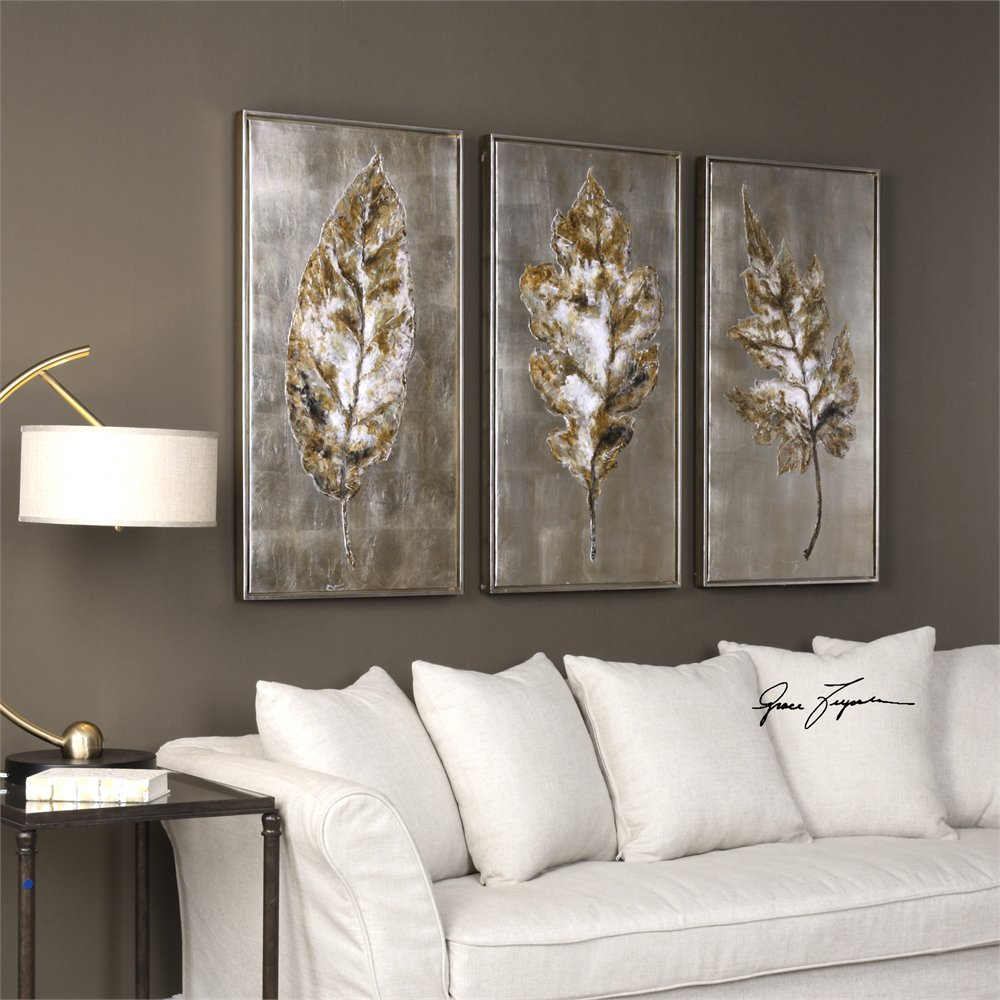 Grace Feyock 35334 Champagne Leaves Modern Wall Art UM35334