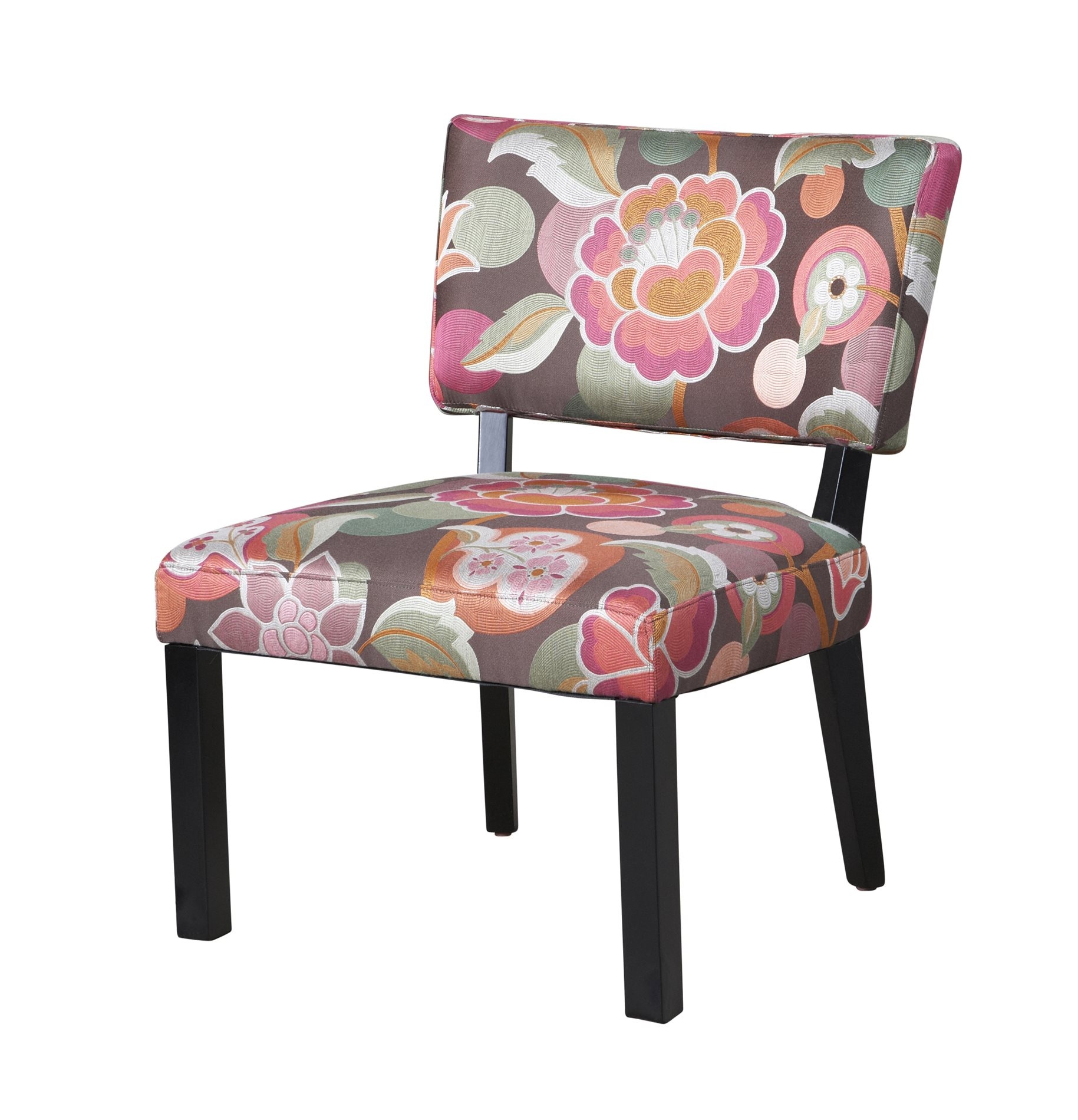 Floral Chair Powell 383 560 Pink And Brown Floral Accent Chair Pwl 383 560