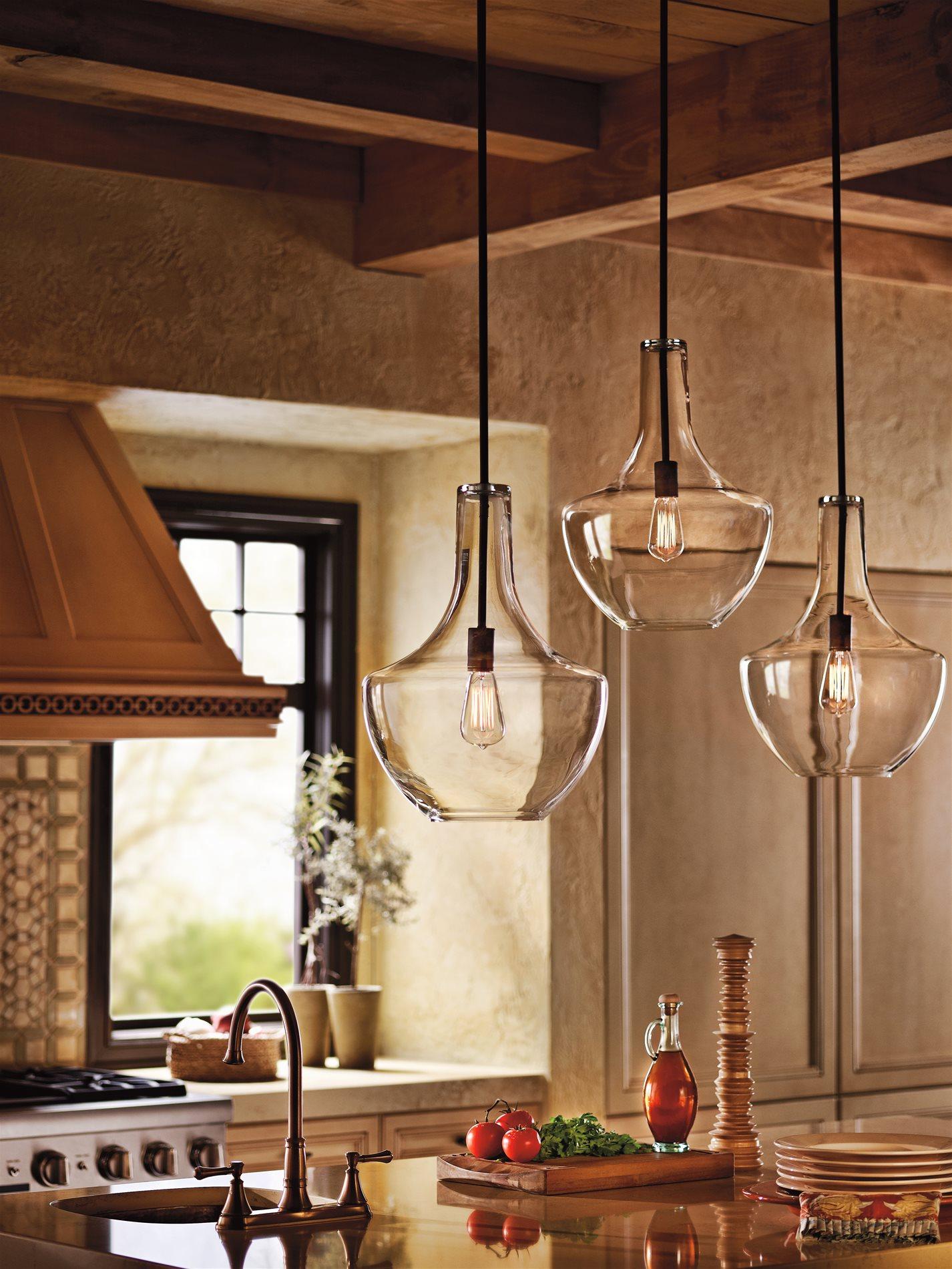 kichler kitchen lighting handles black 42046oz everly transitional pendant light
