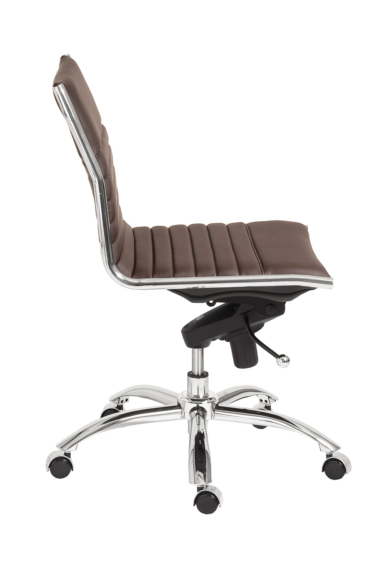 swivel office chair no arms ikea sofa euro style 01266brn dirk low back without
