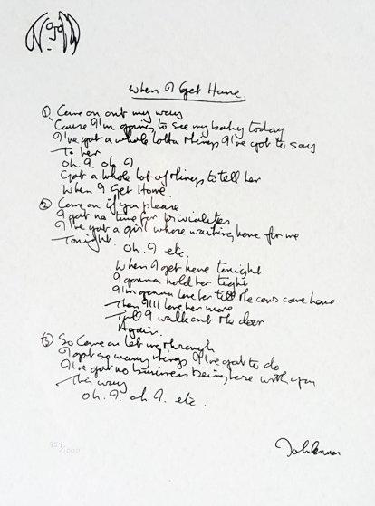 Lyrics: When I Get Home 1997 by John Lennon