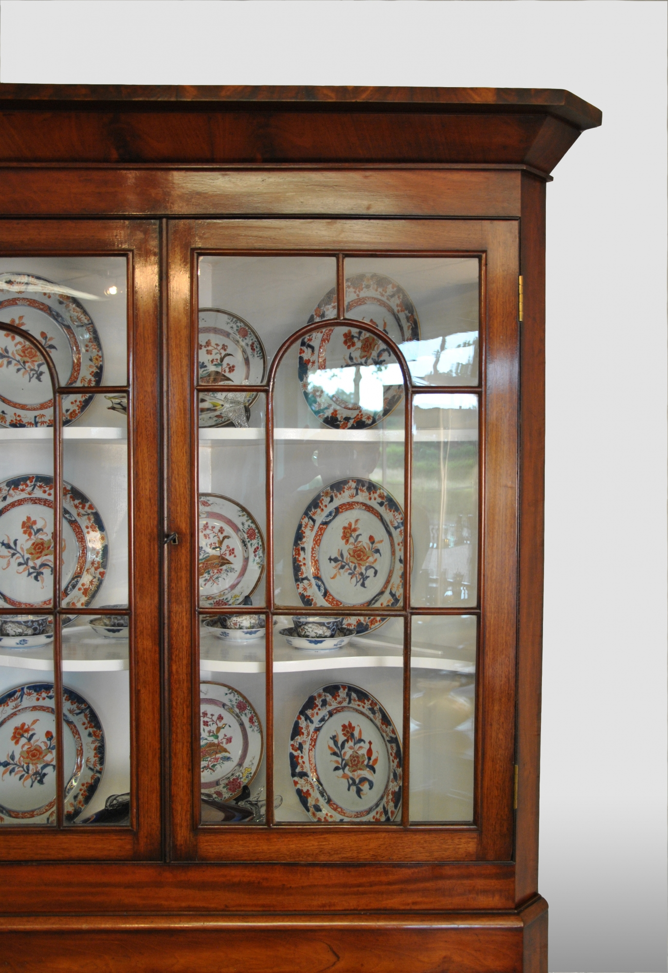 English corner display cabinet with the original glass in