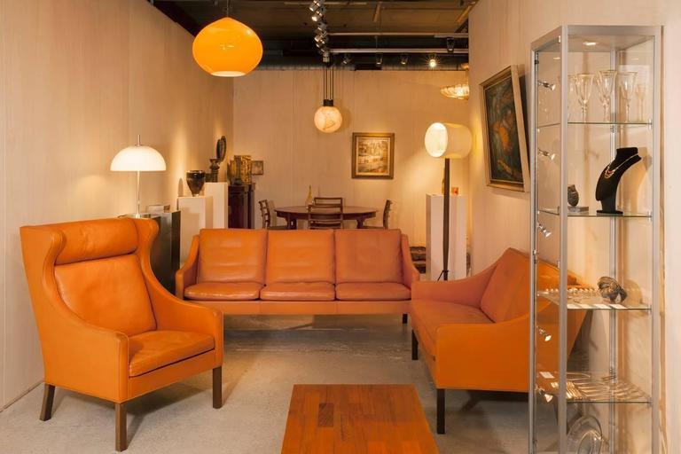 borge mogensen sofa model 2209 grey linen slipcover orange leather three seat 1960s kunstconsult
