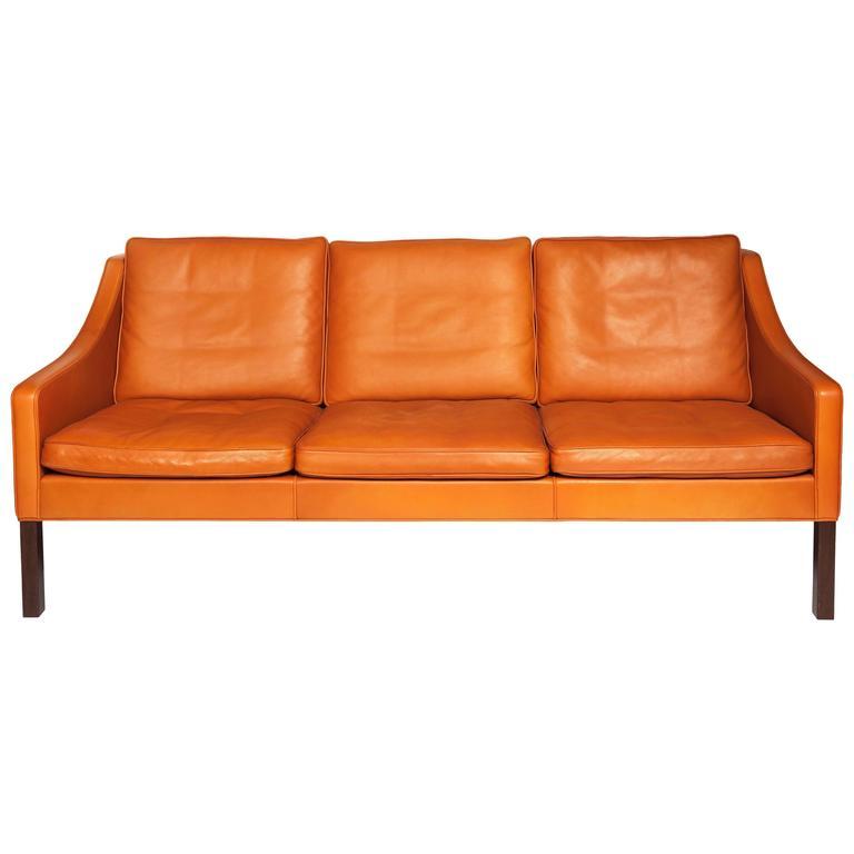 borge mogensen sofa model 2209 sleigh arm orange leather three seat 1960s tap to expand