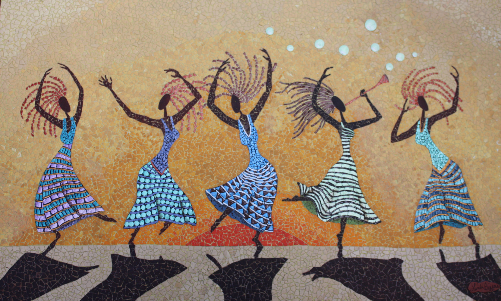 Sun Dancers - Linda Biggers Mixed Media And Eggshell Mosaics