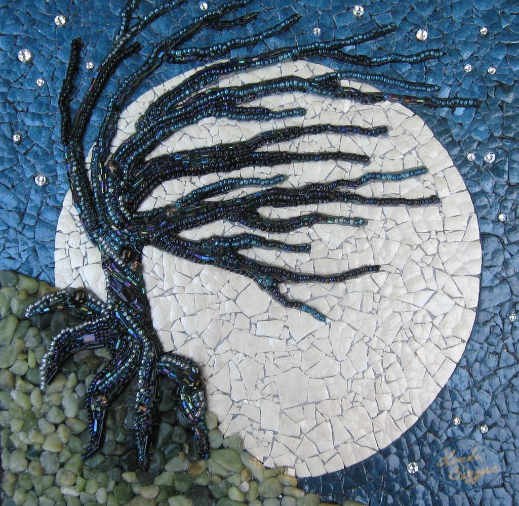 Windy Night - Linda Biggers Mixed Media And Eggshell Mosaics