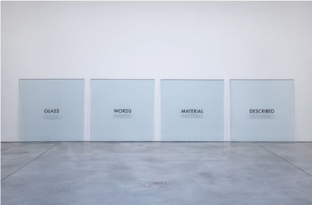 Joseph Kosuth, 'Glass Words Material Described,' 1965, mixed media (4sheets of glass, painted text)