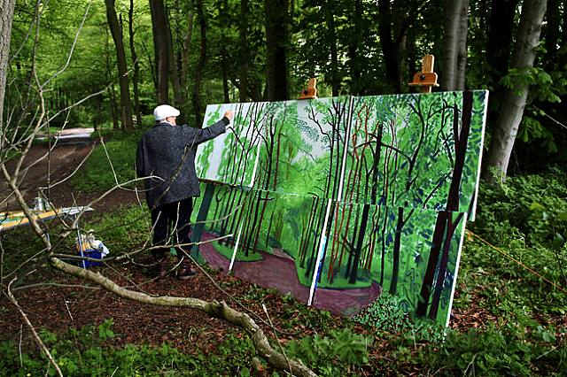 David Hockney, David Hockney Painting, May 17th 2006, Woldgate Wood, East Yorkshire