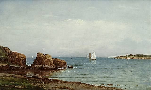 Narragansett Bay from Jamestown (pair) - Charles Wilson Knapp - 1870