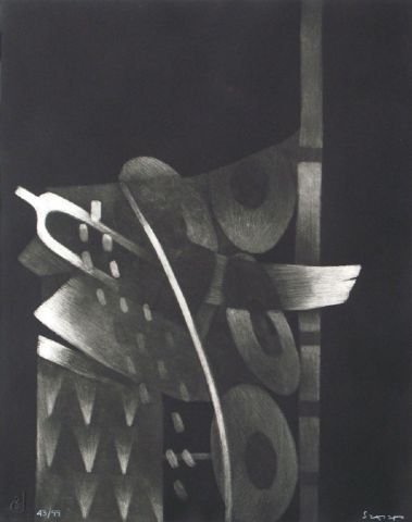 TITLE:   	 El lugar, los instrumentos I 	ARTIST:  	Fernando de Szyszlo 	WORK DATE:  	1991 	CATEGORY:  	Works on Paper (Drawings, Watercolors etc.) 	MATERIALS:  	mezzotint etchings 	SIZE:  	h: 21 x w: 16.8 in / h: 53.3 x w: 42.7 cm