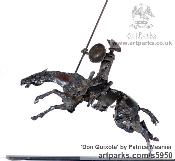 Welded steel Garden Or Yard / Outside and Outdoor sculpture by artist Patrice Mesnier titled: 'Don Quixote (Metal and Horse Rocinante sculptures/statues)'