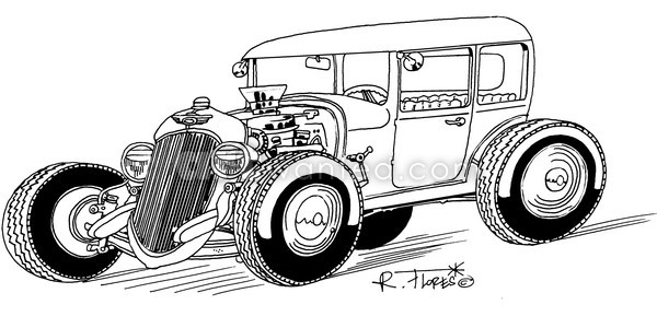 Black and white hot rod cartoon by Roberto Flores