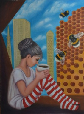 Bee city by Olesya Novik   ArtWanted.com